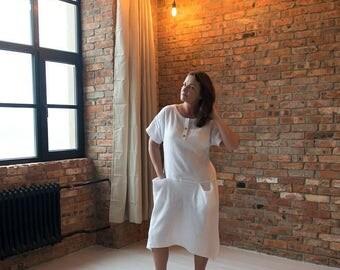 White linen dress, Linen dress, Linen oversize tunic, Large linen dress, Long linen dress,  White beach dress, Casual dress, Summer dress