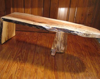 Rustic Quartersawn White Oak Live Edge Waterfall Coffee Table