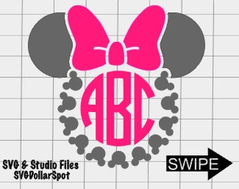 Minnie Circle Monogram SVG - Disney Trip SVG -Minnie - SVG File - Silhouette Studio File