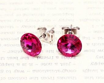 Fuschia earrings, Swarovski Crystal Stud earrings, Fuschia stud earrings, magenta crystal,  6mm, 8mm
