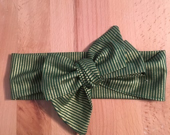 Green and Gold Striped Headband