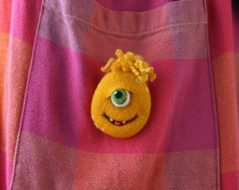 Bridget - Wool monster brooch, Yellow needle felted monster pin