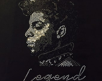 Prince Legend RIP Rhinestones Bling Fitted Shirt