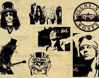 Digital SVG PNG JPG Guns N' Roses, Axl Rose, Slash, silhouette, vector, clipart, instant download