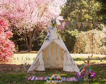 Easter Spring Digital Backdrop, Background for Photography, Tee Pee, Tent, flowers Photoshop, childrens photos, composites,photographers