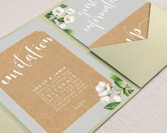 Pocket fold wedding invitation set - Botanicals design, personalised and beautifully printed on textured card