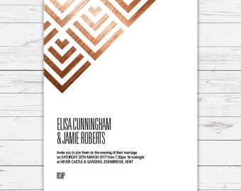 Evening wedding invitation - Geometric design, personalised, customisable and pre-printed with your guests names