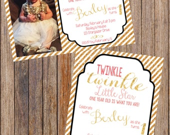 Twinkle Twinkle Little Star First Birthday Invitation, Pink and Gold Glitter Invite, Girl Star Birthday Party