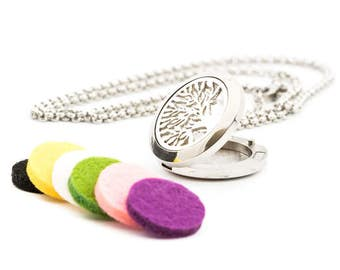 Tree of Life Stainless Steel Diffuser Necklace with Stainless Steel Chain and 5 felt pads.