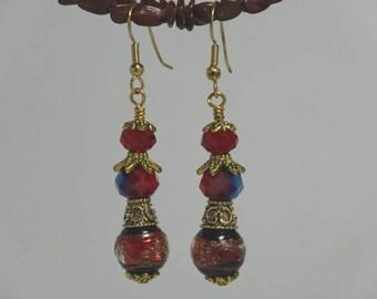Red gold & black dangle earrings lampwork bead
