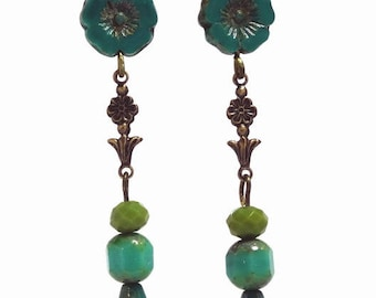 Turquoise teal hibiscus Czech bead dangle earring with blue green beads and brass flower fitting