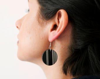 Cerchioso-black textured paper Earrings, handmade, ecofriendly