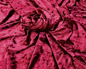 Red Crushed Strech Velvet Fabric by the Yard
