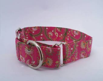 Spring Dog and Puppy Collar, Easter Puppy Collar, Pink and Gold Fabric Dog Collar, Martingale Collar or Regular Style in Several Widths