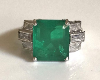 Sterling Silver CZ Emerald Cut Green Stone Ring