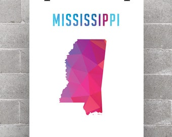 Mississippi State Home Polygon - Home Decor Wall Art Great For Your Office Home Bedroom Living Room Art