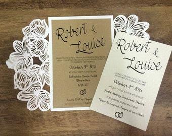 Lasercut floral wedding invitations wedding stationery