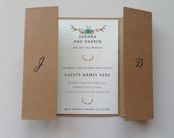 Rustic floral wedding invitations wedding stationery