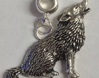 Wolf with 5mm Hole to fit Pendant Charm Bracelet European also fits Pandora Bracelets , necklaces refC18
