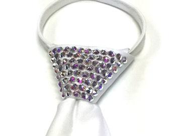 Aurora Borealis Swarovski Crystal White Zipper Tie