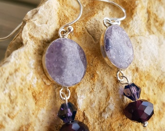 Purple silver glass drop earrings with crystal beads. Gift / for her
