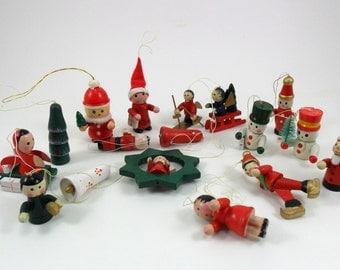 """Vintage Wood Christmas Tree Ornaments Miniature 1 3/16"""" to 2 1/4"""""""