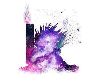 "VASH THE STAMPEDE. Trigun Art Digital Download. 10x8"" Instant Anime Print. Download Fan Art of Trigun. Galaxy Themed Silhouette  of Vash."