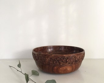 Hand Carved Wooden Decorative Bowl