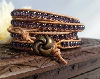 Purple wrap bracelet, women's bracelet, beaded bracelet, purple beaded, leather bracelet, leather wrap bracelet, women's leather bracelet