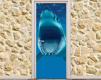 "Shark Door Poster/Sticker (30"" x 79"" 