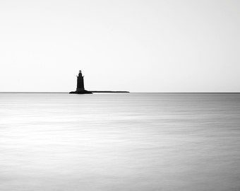 Lighthouse Photography Print // Minimalist Art // Contemporary Wall Art // Black and White // Mid Century Modern // Fine Art Photography