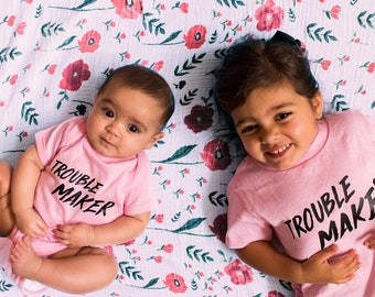 TROUBLE MAKER - Hand Screen Printed Baby Bodysuit
