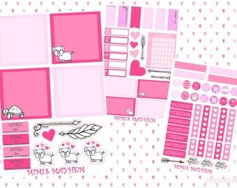 VALENTINES KIT // Personal Filofax // Erin Condren // Classic Happy Planner // Planner // Stickers