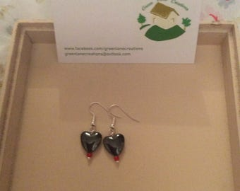 Single Bead Haematite Heart Earrings