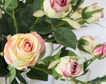 "Luxury Silk 8 Rose Bloom Stem in White Pink 38"" Tall"