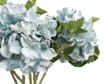 "Luxury Silk Hydrangea Stem in Light Blue 18"" Tall"