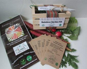 Raindow Garden Kit - 100% USDA Organic - Custom Garden Seeds - Fun & Easy Specialty Garden - Healthy Gardening Gift Set - Beginner