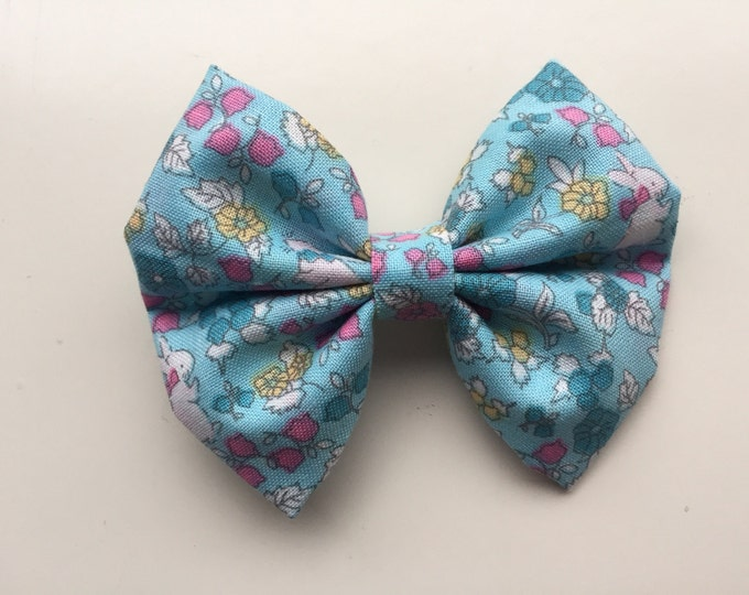 Blue bunny fabric hair bow or bow tie