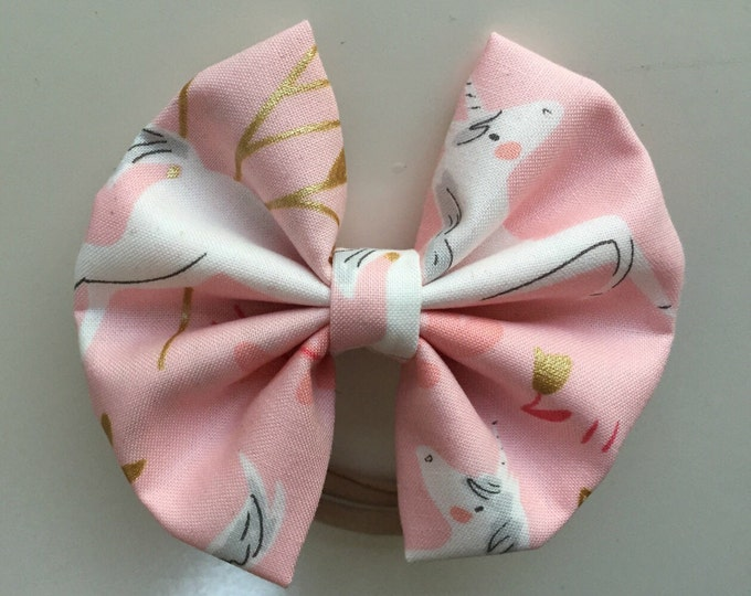 Majestic Unicorn fabric hair bow or bow tie