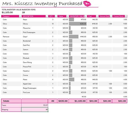 Lipsense Senegence Inventory Income Spreadsheet