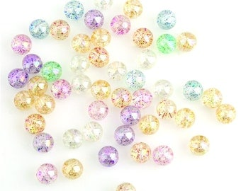 Round Multi Color Glitter Beads 50 Beads