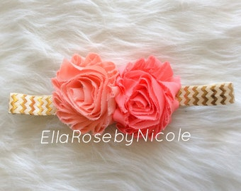 Coral Shabby Flower Headband, Baby, Baby Headband, Shabby Chic Headband, Newborn Headband, Children's Headband