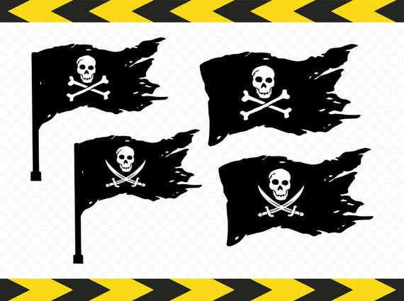 Pirate flag SVG Clipart Skull and crossbones Saber Sword ...