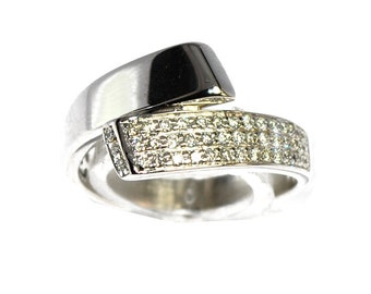Ribbon ring white gold 18K and diamond