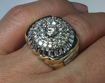 HUGE 14k solid gold Men's Rolex Design Diamond Ring - 14k gold Men's Rolex Rings - 14k gold Men's Diamond Rings - Men's Jewelry - Boss Rings