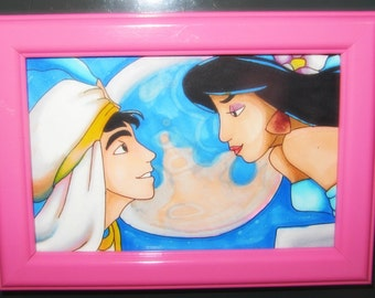 drawing of Aladdin and Jasmine