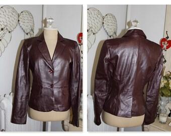 Purple Plum Pearlized Lamb  Leather Jacket