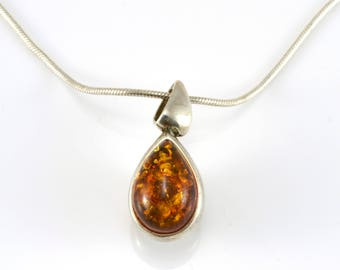 Amber Necklace, Double Sided, Sterling Silver, Baltic Amber