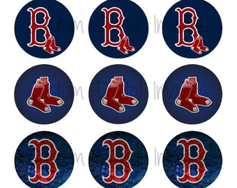 "INSTANT DOWNLOAD Boston Red Sox Bottle Cap Image Sheet | Digital Image Sheet | 4""x6"" Sheet with 15 Images"