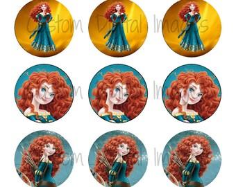 "INSTANT DOWNLOAD Princess Merida Bottle Cap Image Sheet | Digital Image Sheet | 4""x6"" Sheet with 15 Images"